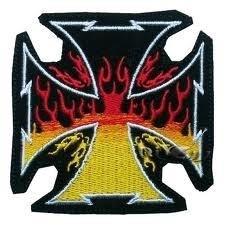 PATCH - Iron/Maltezer Cross with Flames