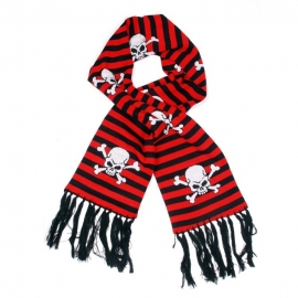 Red/Black Striped Scarf with Skulls and Crossed Bones