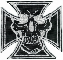248 - PATCH - Maltese Cross with One Skull - WHITE