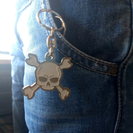 Metal Keychain - White Skull with Crossed Bones
