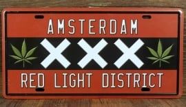 License Metal Plate / Tin Sign - 3D - Amsterdam - XXX - Red Light District