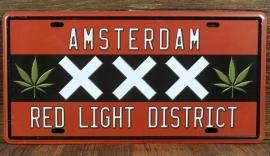 License Metal Plate / Tin Sign - 3D - Amsterdam - XXX - Red Light District