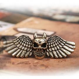 2-Fingerring with Winged & Horned Devil Skull