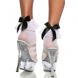 Anklet Socks with Ruffle and Black Satin Bow