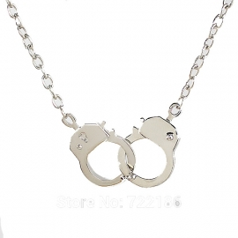Handcuffs Necklace - Polished Silver (new look)