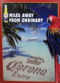 Corona Extra - Large Metal Plate / Tin Sign - Miles Away From Ordinary (Island - Perrot)