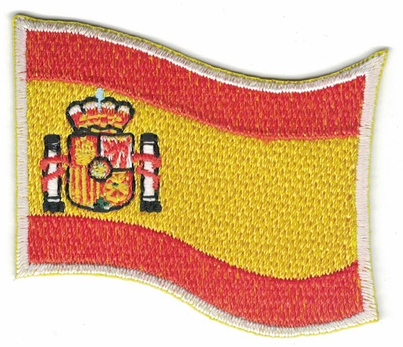 268 Patch Spain With Shield Espana Spanish Waving Flag Patches Roxie Rebel