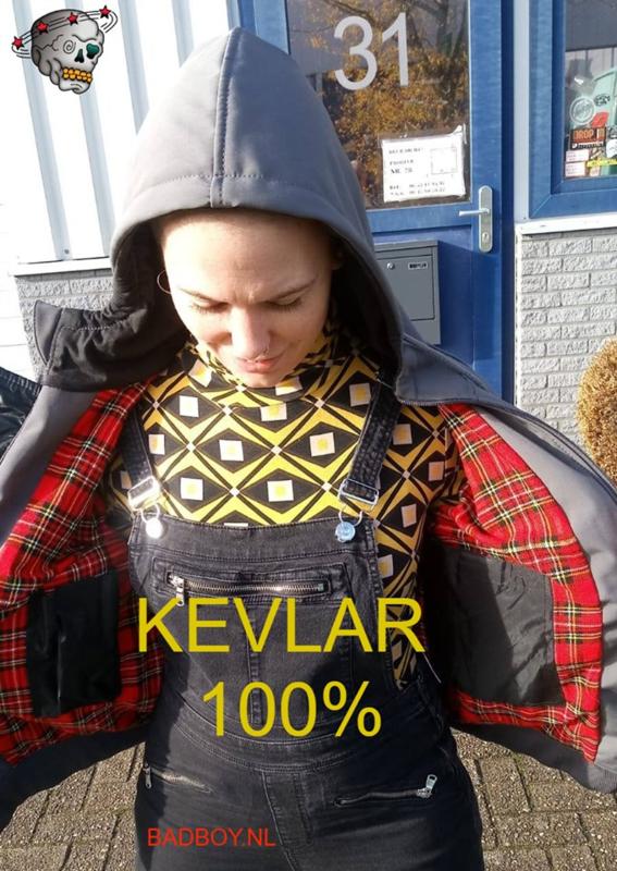 KEVLAR/Softshell - Motorcycle Hoodie - Grey   KEVLAR