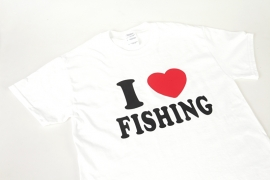 `I Love Fishing` Vis T-shirt - Wit