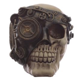 Steampunk schedel met bronskleur mechanische bril ooglap