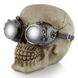Steampunk schedel met zilverkleurige mechanische bril