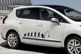 Sticker 'Evolutie van aapmens naar visser' – Zwart