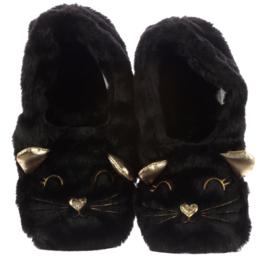 Verwarmde Katten Sloffen Kat Pantoffels Zwart