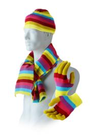 Superleuke Regenboogset Winterse XL Sjaal + Handschoenen + Muts