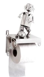 Toiletrolhouder Voetbalspeler – metalen cadeau beeldje voetbal