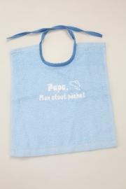 Bavoirs pour bébés `Papa, mon atout pêche!` bleu clair carré