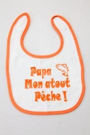 Bavoirs pour bébés `Papa, mon atout pêche!` orange rond