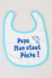 Bavoirs pour bébés `Papa, mon atout pêche!` bleu clair rond