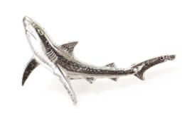 Visspeld Blauwe Haai Verzilverd