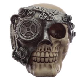 Steampunk schedel met zilverkleur mechanische bril ooglap