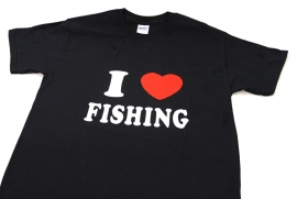 `I Love Fishing` Vis T-shirt - Zwart