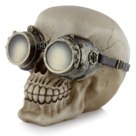 Steampunk schedel met groen koperen mechanische bril
