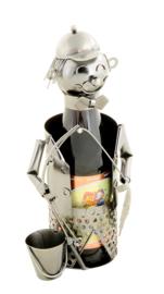 Visbeeldje Bierfleshouder – metalen cadeau beeldje visser flessenhouder