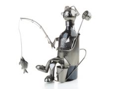 Visbeeldje Wijnfleshouder 'Vrolijke visser met vis'