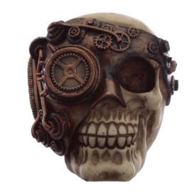 Steampunk schedel met koperkleur mechanische bril ooglap