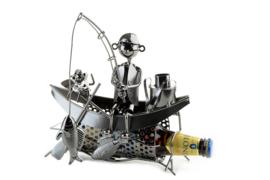 Visbeeldje Bierfleshouder Metalen Cadeau Beeldje Visser Boot
