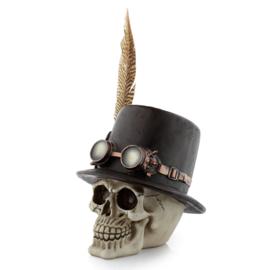 Steampunk schedel met hoge hoed & veren