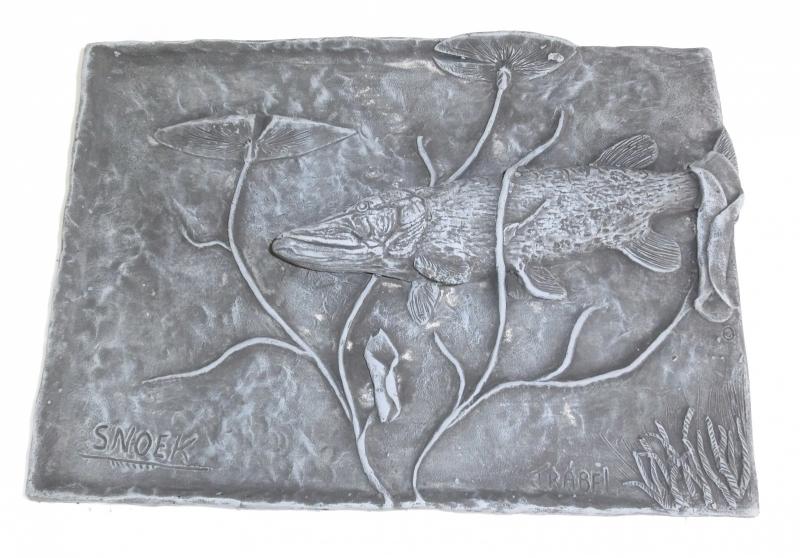 Wandplaat Snoek met Lelies