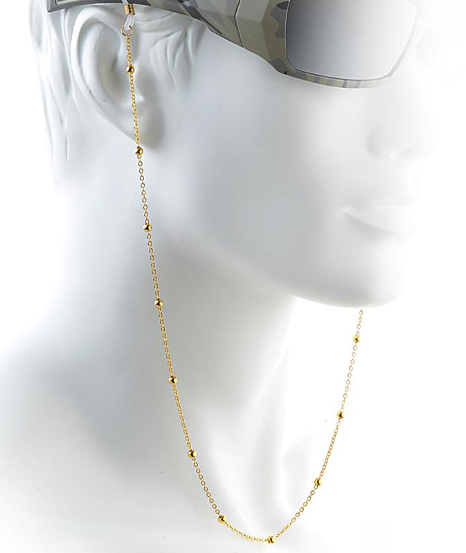 Luxe Metalen Brillenkoord Goud – Gold Beads