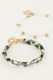 My Jewellery - Mintgroene gevlochten armbanden set