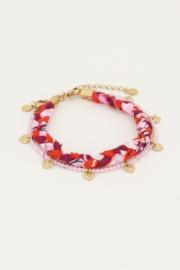 My Jewellery - Roze gevlochten armbanden set