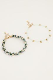 My Jewellery - Groene gevlochten enkelband set