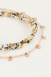 My Jewellery - Beige gevlochten enkelband set