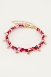 My Jewellery - Roze gevlochten enkelband set
