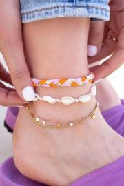 My Jewellery - Oranje gevlochten enkelband set
