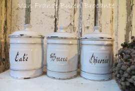 3 Franse  wit emaillen voorraadbussen - Café -Sucre - Chicorée - SOLD