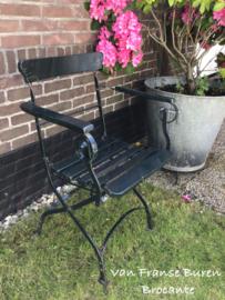 Oude Franse armleunstoel - inklapbare tuinstoel - terrasstoel