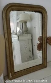 oude Franse spiegel met mooi verweerd spiegelglas - SOLD