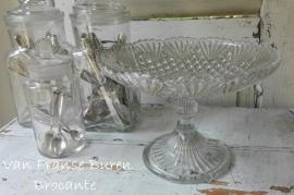 oude glazen schaal op voet - SOLD