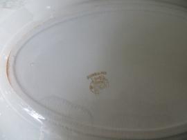 oude Franse ovale schaal van aardewerk Terre de Fer KK