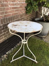 Oude Franse ronde tuintafel - terrastafel - bistrotafel