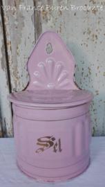 Roze emaillen selpot - zoutpot - SOLD
