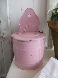 roze emaillen zoutbak - SOLD*