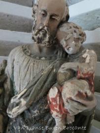 devotiebeeld Sint Jozef met kindje Jezus in afbladderende verf- VERKOCHT/SOLD