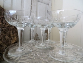 6 geslepen   champagnecoupes - SOLD*