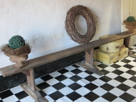 oude lange Franse houten bank- SOLD*